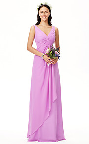 Sheath / Column V-neck Floor Length Chiffon Bridesmaid Dress with Criss Cross Pleats by LAN TING BRIDE®