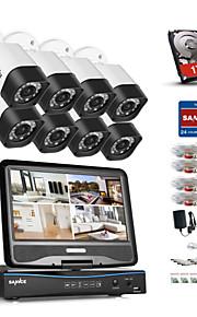 Sannce® 8ch 8st 720p vejrbestandigt sikkerhedssystem med 4in1 1080p lcd dvr understøttet tvi analog ahd ip kameraer og 1tb hd