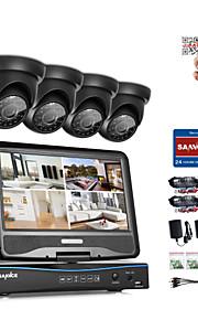 Sannce® 4ch 1080p lcd dvr sikkerhedssystem understøttet 720p analog ahd tvi ip kamera uden hdd