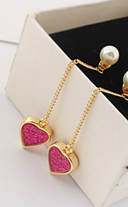 Drop Earrings Women's  Fashion Fuchsia Heart Pendant Women Earrings for Party Daily Thank You Gift Movie Jewelry