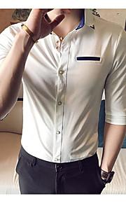 남성 솔리드 셔츠 카라 짧은 소매 셔츠,심플 일상 면 여름 중간