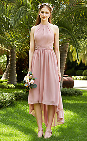 A-Line Jewel Neck Asymmetrical Chiffon Bridesmaid Dress with Sash / Ribbon Ruching Pleats by LAN TING BRIDE®