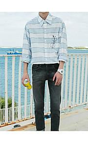 남성 줄무늬 셔츠 카라 긴 소매 셔츠,심플 캐쥬얼 면 봄