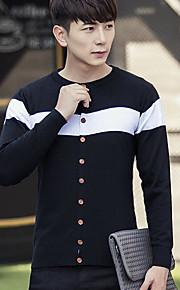 남성 보통 가디건 캐쥬얼 솔리드,라운드 넥 긴 소매 20 % Wool21 % 폴리 에스터 59 % 비스코스 봄 가을 얇음 약간의 신축성