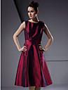 Lanting Bride Knee-length Taffeta Bridesmaid Dress A-line / Princess Bateau Plus Size / Petite with Flower(s)