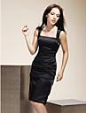 Lanting Bride Knie-Laenge Stretch - Satin Brautjungfernkleid - Kleines Schwarzes Kleid Eng anliegend Quadratisch UEbergroesse / Zierlich mit