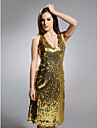Cocktail Party / Holiday Dress - Gold Plus Sizes / Petite Sheath/Column V-neck Knee-length Sequined