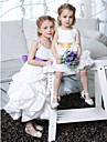 A-line / Princess Ankle-length Flower Girl Dress - Taffeta Sleeveless Spaghetti Straps withBow(s) / Draping / Pick Up Skirt / Sash /