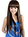 Capless extra lång högsta kvalitet kvalitet syntetiskt brunt rakt hår peruk