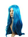 Capless hög kvalitet syntetisk lång blå maskerad peruk
