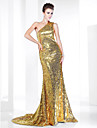 TS Couture® Formal Evening Dress - Gold Plus Sizes / Petite Trumpet/Mermaid One Shoulder Sweep/Brush Train Sequined