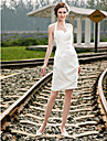 Lan Ting Sheath/Column Plus Sizes Wedding Dress - Ivory Short/Mini Halter Satin