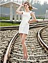 Lanting Bride® 시스 / 칼럼 퍼티트 / 플러스 사이즈 웨딩 드레스 - 쉬크&모던 / 피로연 드레스 리틀 화이트 드레스 숏 / 미니 사각형 새틴 와
