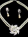 cristale clare, frumoase, cu imitație perle de nunta mireasa set de bijuterii, inclusiv colier și cercei