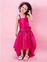 A-line / Princess Knee-length Flower Girl Dress - Taffeta Sleeveless Straps with Bow(s) / Flower(s) / Sash / Ribbon