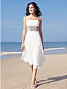Sheath/Column Plus Sizes Wedding Dress - Ivory Tea-length Spaghetti Straps Chiffon