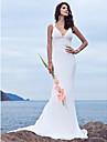 Lanting Bride Trumpet/Mermaid Petite / Plus Sizes Wedding Dress-Sweep/Brush Train V-neck Chiffon