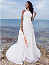 LAN TING BRIDE A-line Wedding Dress - Classic & Timeless Chic & Modern Simply Sublime Sweep / Brush Train Jewel Chiffon with Draped Ruche