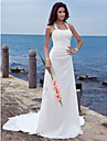 Lanting Bride® Sheath / Column Plus Sizes / Petite Wedding Dress - Chic & Modern Open Back Court Train Halter Chiffon with Appliques