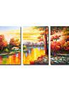 handmålade landskap oljemålning med sträckt ram - set om 3