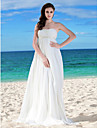 Lanting Bride® Sheath / Column Petite / Plus Sizes Wedding Dress - Chic & Modern Vintage Inspired Floor-length Strapless Chiffon with
