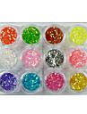 12 färger Nail Art glitter damm pulver dekoration