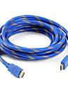 5m 15ft v1.4 1080p 3d 4k höghastighets hdmi kabel w / ferritkärnor - blå, platt typ
