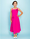Tea-length Chiffon Junior Bridesmaid Dress - Fuchsia Sheath/Column/A-line Spaghetti Straps