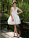 Lanting Bride Ball Gown Petite / Plus Sizes Wedding Dress-Knee-length V-neck Tulle