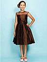 Lanting Bride Knee-length Organza / Taffeta Junior Bridesmaid Dress A-line / Princess Jewel Natural with Draping / Flower(s) / Ruching