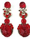 Lovely Elliptical Shape Retro Earrings for Women (Red)