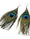 Boucles d\'oreille goutte Plume Tissu Alliage Boheme Mode Plume Paon Vert fonce Bijoux Soiree