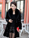 Elegant Long Sleeve Fox Fur Collar Evening Mink Fur Coat
