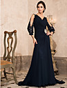 TS Couture® Formal Evening / Military Ball Dress - Dark Navy Plus Sizes / Petite A-line / Princess V-neck Sweep/Brush Train Chiffon