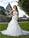 Lan Ting Trumpet/Mermaid Plus Sizes Wedding Dress - Ivory Chapel Train Sweetheart Organza
