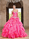 Prom / Formal Evening / Quinceanera Dress Ball Gown / Princess Strapless / Sweetheart Floor-length Organza withBeading / Cascading