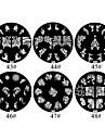 1st 2D Metal Flowers Nail Art Plate Bildstämpel (blandade färger, No.43-48)