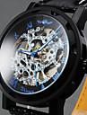 WINNER Bărbați Ceas de Mână ceas mecanic Mecanism manual Gravură scobită Piele Bandă Luxos Negru Alb Negru