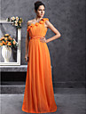 Floor-length Chiffon Bridesmaid Dress - Orange Plus Sizes / Petite Sheath/Column One Shoulder