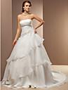 A ライン/プリンセスライン ウェディングドレス アイボリー サテン/オーガンザ ストラップレス チャペル 大きいサイズ