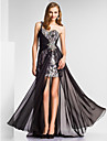 Formal Evening/Military Ball Dress - Black Sheath/Column One Shoulder/Sweetheart Floor-length Chiffon/Sequined