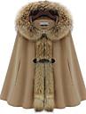 DamenKaschmir Mantel mit Waschbär-Pelz- Verzierung