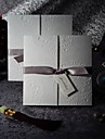 Sample Elegant Embossed Tri-fold Wedding Invitation With Silver Bows (One Set)