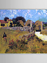 Berömda oljemålningen A-hus-i-Provence av Van Gogh