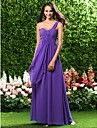 Lanting Bride Floor-length Chiffon Bridesmaid Dress Sheath / Column One Shoulder Plus Size / Petite with Ruffles / Criss Cross