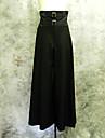 Elegant Gothic Double Belted Black Cotton Punk Lolita Bell-bottom Pants