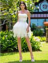 Lanting Bride® Robe de Soiree Petites Tailles / Grandes Tailles Robe de Mariage - Chic & Moderne / Reception Courte / Mini Sans Bretelles