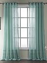neoklassiska två paneler rand blå vardagsrum bomull skira gardiner nyanser
