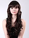 Capless Long Brown Full Bang Curly High Quality Synthetic Fluffy Wings