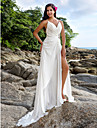 LAN TING BRIDE Sheath / Column Wedding Dress - Chic & Modern Elegant & Luxurious Beautiful Back Sweep / Brush Train V-neck Chiffon with